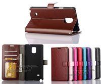 tarjeta protectora de pantalla al por mayor-Para Samsung Galaxy Note 4 N9100 Vintage Wallet Funda de cuero de la PU del soporte del tirón del soporte con el titular de la tarjeta + Protector de pantalla