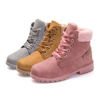 Wholesale warm boots women - New Pink Women Boots Lace up Solid Casual Ankle Boots Martin Round Toe Women Shoes winter snow boots warm british style