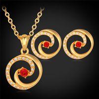 conjunto de brinco de colar de strass vermelho venda por atacado-Vermelho Austríaco Strass 18 K Real Banhado A Ouro Colar de Pingente de Brincos Para As Mulheres Conjunto de Jóias de Moda Jóias