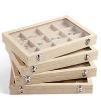 Wholesale Large Jewelry Storage - Large Linen Jewelry Box Earrings Necklaces Bracelets Ring Jewelry Display Box Jewelry Tray Jewelry Organizer Storage Stand Holder