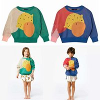 Wholesale Girls Sweater Knit Pattern - INS styles 2 colors new Girl kids autumn winter long sleeve Pure cotton multicolour Cartoon fruit pattern knitted sweater for children