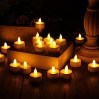 ingrosso desideri luci-Tea Light 24pcs giallo sfarfallio falso candela elettronica lacrima goccia senza fiamma luce a pile a colonna pilastro che desiderano candele