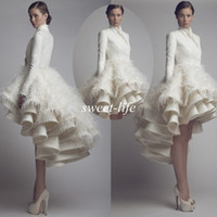 Wholesale Wedding Dress Lace Feathers Satin - Chic Wedding Dresses 2015 Fall Winter Long Sleeve High Collar Short Front Long Back Satin Feather Krikor Jabotian Bridal Wedding Party Gowns