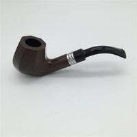 abanoz tütünü boruları toptan satış-1 ADET Yüksek Kaliteli Ahşap Sigara Boru Sadece Tedarik High-end erkek Abanoz Tütün Boru Ben Tipi EKJ 5515