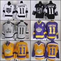 schwarzer patch großhandel-LA # 11 Anze Kopitar Jersey Los Angeles Kings Hockey Jerseys Schwarz Weiß Anze Kopitar Jersey C Patch