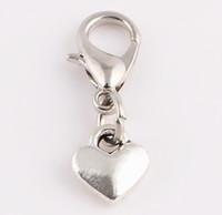 yüzen kalp kolye toptan satış-20 adet / grup Küçük Kalp Dangle Kolye Yüzen Madalyon Istakoz Kapat ile Takılar Cam Manyetik madalyon Için Fit