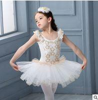 Wholesale Tutu Ballet Flower Girl Dresses - Girls ballet dance dress Kids lace falbala fly sleeve tulle tutu pageant dresses summer new children flowers applique dancewear R0922