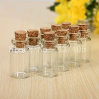 Wholesale Mini Cork Bottle Wholesale - Hot 20Pcs Lot Mini Glass Bottle Vials Charms Pendants Clear Transparent Bottles With Cork Free Shipping