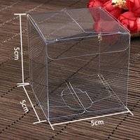 Wholesale square gift boxes wholesale clear - 100pcs lot 5cm Clear PVC Package Box Square Plastic Containers Jewelry Gift Box Candy Chocolate Towel Cake Box Free Shipping