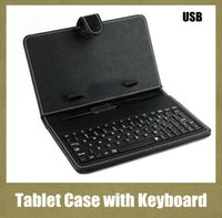 Wholesale Tablet Mid Keyboards - 7 inch 8 inch Leather PU Tablet PC Case with Micro Interface USB Port Keyboard fit MID Tablet PC Black Adjustable Cover Free ship PCC015