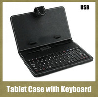 7 polegadas 8 polegadas Leather PU Tablet PC Case com micro interface USB Port Keyboard fit MID Tablet PC Preto ajustável Cover Free ship PCC015