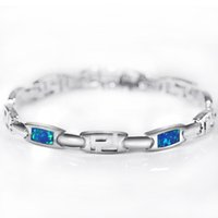erkekler 925 bilezik toptan satış-Fashion OL Style Blue Opal Gem Bracelets For Women 925 Sterling Silver Bracelets & Bangles Hot Sale Fine Jewelry for Man SL040