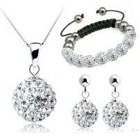 Sterling Silber 925 Shiny Dot Shamballa Trio Set Halskette + Ohrring + Armband Solid Silber Weihnachtsgeschenk