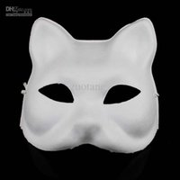 ingrosso maschere mezze mascherate in bianco-Diy blank non dipinte maschere di gatto pianura bianco ambientale carta polpa mascherata mezza maschera mano pittura programmi d'arte