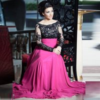Fuchsia Black Country Dresses Party Evening 2018 Boat Neck Lace Chiffon Bohemian Formal Prom Gown Плюс Размер Мать невесты платье Арабский
