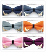 Wholesale Stylish Ties For Men - Wholesale 12 Colors Stylish Fashion Novelty Men's Bowtie Men TUXEDO Bow Ties for Wedding Banquet Business Metal Package Corner Free Shipping