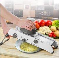 reibe gemüse julienne großhandel-Einstellbare Manuelle Gemüseschneider Mandoline Slicer Kartoffelschneider Karottenreibe Julienne Obst Gemüse Werkzeuge Küchenwerkzeuge CCA7994 24 stücke