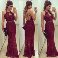 Wholesale High Neck Sleeveless Evening Dresses - 2015 Prom Evening Dresses Mermaid Beaded Lace Backless Hot Runway Evening Gowns with High Neck and Beading Sleeveless Criss Cross Staps