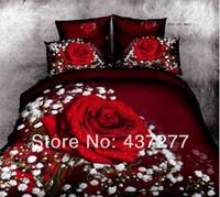 Wholesale Romantic Reversible Bedding - lady romantic red rose print full queen bedding set egyptian cotton 500TC reversible duvet cover bed sheet comforter sets 4 5pc