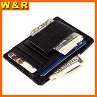 Wholesale Leather Cash Clip - men's genuine leather money clip famous brand money clip wallet for cash fashion designer hot selling wallet for cards and money A3