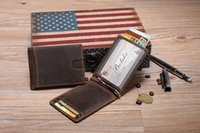 Venda Por Atacado Men Vintage Crazy Horse Genuine Leather Short Mini Wallet Money Ticket Clip Card Holder Pocket Slim New Style Purse