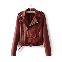 Wholesale wine leather woman jacket - Wholesale- 2016 spring Autumn Women PU Leather Jackets Lady Slim Fit Motorcycle Zipper Coat wine red blue pink costs lady fashion with belt