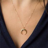 encantos de cuerno al por mayor-Gold Horn Necklace Maxi Long Crescent Moon Necklace Collar de cuerno doble para mujer Charm Jewelry