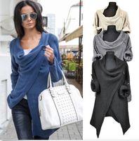 Wholesale Black American Models - Women Sweaters Knitted New Star Models Long Sleeve Loose Outwear Knitwear Cardigan One Button Irregular Sweater