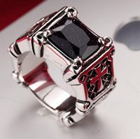 Ruby Male Titanium Antique Silver Male Cross Ring Finger Blue Sand Stone Ring