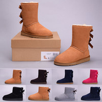 Wholesale Women Fur Boots - 2018 Winter WGG Women's Australia Classic kneel half Boots Ankle boots Black Grey chestnut navy blue red Women girl boots 36-41
