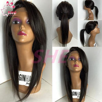 Wholesale Black Bangs Real Hair - Brazilian Virgin Glueless straight Lace Wig Lace Front Wig with Baby Hair 100% Real Unprocessed Human Hair wigs with bangs