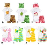 baby kleidung tier anzüge großhandel-7 Arten Karikatur-Baby-Spielanzug 3pcs Sätze (Hut + Spielanzug + kurz) Kind-nette Tierkurzschlußhülsenklage stellt Baby-Kleidung ein
