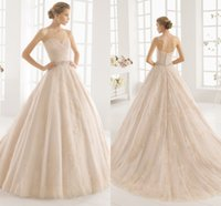 Wholesale Simple Flower Sash - Braw Sweetheart Wedding Dress Pleats 2015 Pearls Applique Piping Tulle Chapel Train A Line Beaded Flower Covered Button Backless Bridal Gown