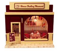Wholesale Classic Miniature Toys - European cafe diy wood doll house miniature dollhouse classic toys miniatures for decoration,diy handmade hut kit