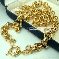 anillo de collar sólido al por mayor-18k oro llenado Belcher mens anillo de perno de Enlace para mujer collar sólido jewllery N221