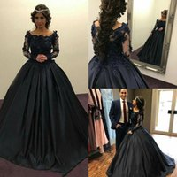 Wholesale Vintage Full Length Prom Dresses - 2018 Exquisite Dark Blue Black Prom Dress Ball Gown Off Shoulder Long Sleeves Beaded Appliques Full Quinceanera Gowns Evening Dress Cheap