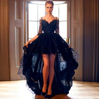 Wholesale Sexy Lace Line - 2015 Sexy Black Lace Half Sleeve Prom Dresses Sweetheart Applique Beaded Bowknot Sash Hi Lo Evening Dresses A Line Backless Party Dress