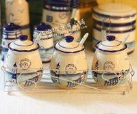 Wholesale Hand Painted Ceramic Pots - The lighthouse Marine kitchen receive. Hand-painted ceramic. Spice bottles flavor pot seasoning bottle three-piece suit.