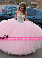 Wholesale Ballgown Cheap Dresses - Pretty Beaded Big Ball Prom Quinceanera Dresses For 2016 Sweet 16 Formal Ballgown Girls Wear Tailor Made Cheap Corset and Masquerade Gowns