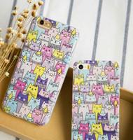 Wholesale South Korea Cat - Japan South Korea cute cat illustration colorful cartoon cat mobile phone case for iphone 5 6s 6 plus
