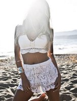 Wholesale Handmade Crochet Bikini - Summer Lace Tank Tops Women Sexy Beach Bikini Crochet Tank Top Vintage Handmade cotton knitted Crop top White Black bra bustier crop top