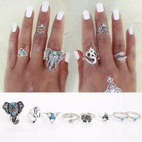 Atacado - 8PCS / Set Bohemian Elephant Midi Ring Set Retro Silver Steampunk Moon Animal Knuckle Rings para Mulheres Jóias Moda Jóias