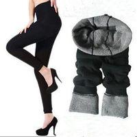 Wholesale Cheap Warm Leggings - 2016 new fashion slim larger elastic waist cheap soft women black nine double layer bamboo fiber winter thicken warm leggings pants