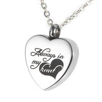 """Wholesale Premium Heart - Lily Urn Pendant """"Always in My Heart"""" Heart Premium Stainless Steel Necklace for cremation ashes with gift bag and chain"""