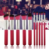 Wholesale Red Make Up Brushes - 10PCS New Arrival Cosmetics Health Beautiful Rose Red Makeup Brush Set Portable Tool Beauty Make Up Brushes With Flannel Cosmetic W1223