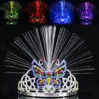 mariposas ópticas al por mayor-El más nuevo LED Colorido Luz Corona Masquerade Fiesta de Navidad Sombrero Mariposa Corona Fibra óptica Diadema Mardi Gras Regalos WX9-119