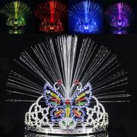 ingrosso farfalle ottiche-Più nuovo LED Colorful Light Crown Masquerade Festa di Natale Copricapo Farfalla Corona Fibra Ottica Fascia Mardi Gras Regali WX9-119