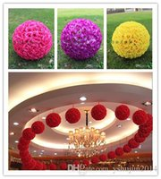 Wholesale Beach Theme Party Decorations - Hot Sale Beach Theme Pink Artificial Silk Flower Ball Hanging Kissing Balls 15 cm to 60CM Ball For Wedding Party Decoration Supplies