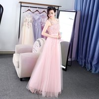 Wholesale Strapless Little Bride Dresses - Blush Pink Fashion Evening Dresses the Bride Lace A-line Sexy V-neck Sleeveless Appliques Prom Party Formal Gown Custom Made Robe De Soiree