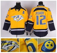 Masculinas Wholesale Hóquei no Gelo Jersey baratos Nashville # 12 Mike Fisher Jerseys costurado Logos Authentic China Sports Hockey Jersey